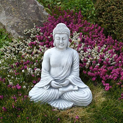 Buddha Garten: Massive Steinfigur Buddha Statue aus Steinguss frostfest