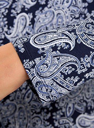 oodji Collection Donna Maglia Stampata con Maniche Lunghe Blu (7974E)