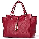 Frauen Echtes Leder Handtaschen Soft Top-Griff Taschen Designer Handtaschen Vollnarben Rindleder (ROT)