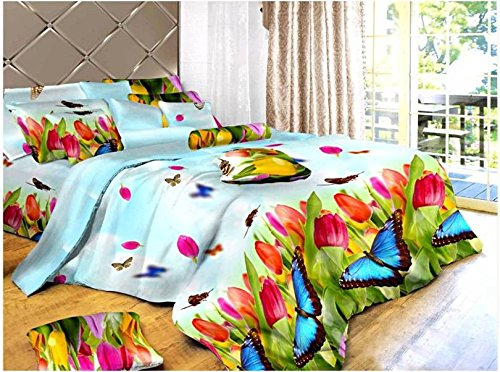 Dexim 3D Print Double Polysatin Bed Sheet With Two Pillow Cover Set (Multicolor)  available at amazon for Rs.799