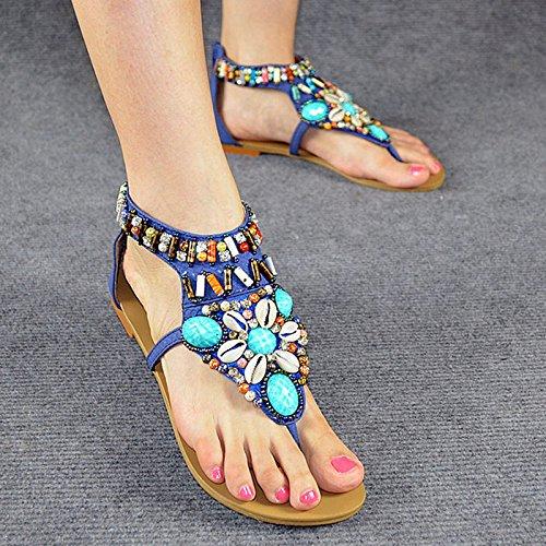 Fondo piatto sandali femminili dei sandali Boemia Estate Diamante Scarpe Donna piatto con fondo piatto Blue