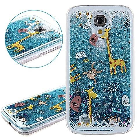 Coque pour Samsung Galaxy S4, ISAKEN Transparente Liquide Étoile Paillette