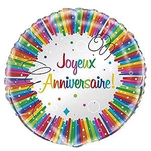 Unique Party-56916-Globo de helio-cumpleaños feliz lazos multicolor-45cm