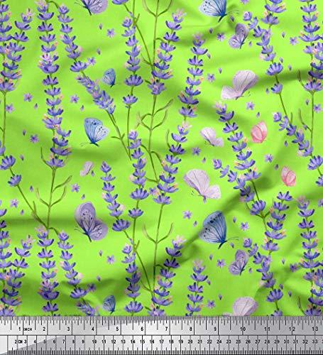 Soimoi Grun Baumwolle Batist Stoff Schmetterling & Lavendel Blumen- Drucken Nahen Stoff 1 Meter 56 Zoll breit