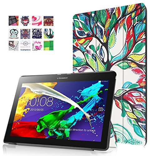 DouKou Lenovo Tab 2 X30F A10-30 Case, Ultra sottile PU in pelle protezione e supporto Case custodia per Lenovo Tab 2 X30F A10-30 10.1 Pollici Tablet (Non compatibile Tab Lenovo 2 A10-70) , Smart Cover Auto Sveglia / Sonno (Happy tree)