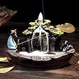 Guilin Bruciatore di incenso, con paesaggio a flusso inverso, in ceramica, realizzato a mano, bellissimo, con 10 coni di ince