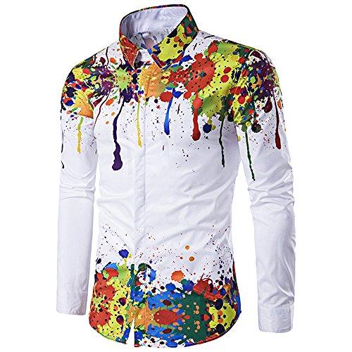EbuyChX Buntes Spritzer-Lackmuster Umlegekragen-Langarmhemd Weiss M - Long Sleeve Pattern Shirt