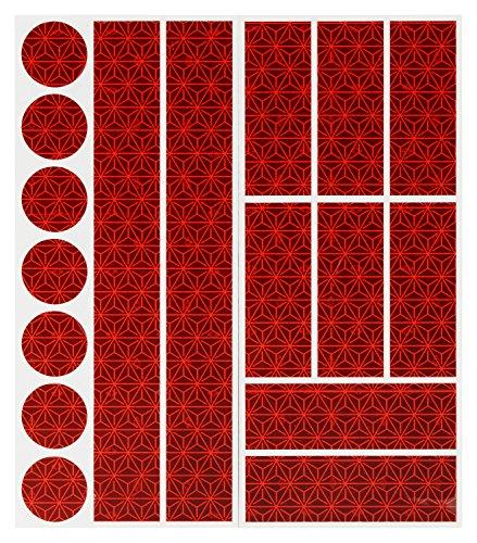 Reflektoren Aufkleber Sticker (17 Stück) HiPerformance Reflexfolie Set zur Sicherungs-Markierung von Kinderwagen, Fahrrädern, Helmen mit Stickern - selbstklebend und hochreflektierend
