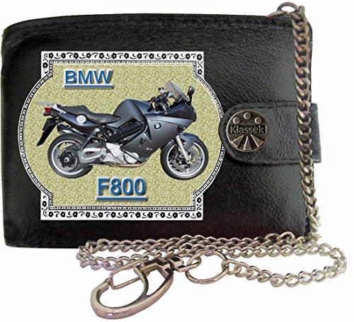 BMW F800 Image sur portefeuille RFID pour hommes de marque KLASSEK vrai cuir avec chaîne Moto Bike cadeau d'accessoire avec boîte en métal produit BMW Non officiel