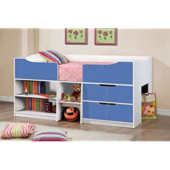 Happy Beds Paddington Cabin Bed Wooden White And Blue Storage Drawers Kids  Children Frame 3u0027