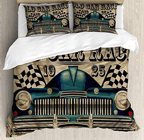 Soefipok Cars 3-TLG. Bettwäscheset, traditionelles altes Autorennen-Thema, amerikanisches Auto mit Flaggen im rostigen Look, Bettwäscheset, Tagesdecke für Kinder/Jugendliche/Erwachsene/Kind