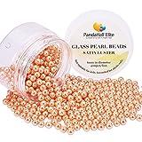 PandaHall Elite 400 St¨¹ck / Box Pearlized Glasperlen Runde Perlen f¨¹r Schmuckherstellung, gef?rbt, Korallen Farbe, 6 mm, Bohrung: 1 mm
