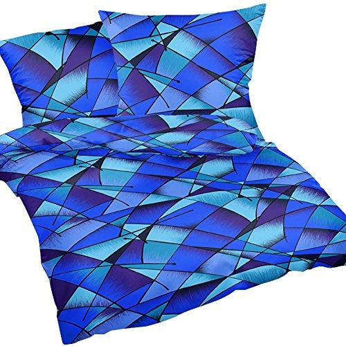 Heubergshop 2-teilige Seersucker Bettwäsche 135x200cm und 80x80cm - Blaue Streifen - Wildes Muster - Bettgarnitur aus 100% Baumwolle, bügelfrei (S-183/2)