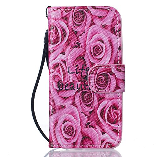 Apple iPhone 6S Custodia in pelle, Cover per iPhone 6, Ekakashop Custodia PU Cuoio Caso Con Carte di Credito Slot Protettiva in Pelle Flip Folio Leather Book Wallet cordicella di Stand Case Cover per  A-Rose Rosa