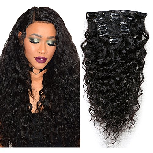 Mila 18inch/45cm extension clip capelli veri 100% umano capelli brasiliano virgin hair natural wave ricci per testa piena 8pc 120gram naturale nero 1b