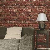 Fine Decor 31284-Papier peint, thème : mur brut, rouge, FD31285