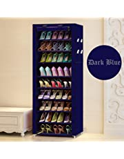 Aysis Multipurpose Portable Folding Shoes Rack 9 Tiers Multi-Purpose Shoe Storage Organizer Cabinet Tower with Iron and Nonwoven Fabric with Zippered Dustproof Cover (Navy Blue)