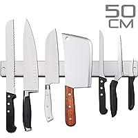 AidSci Verbesserte 50cm Magnetleiste Messer, Extra Starker Magnet Messerhalter aus Edelstahl, Magnetleiste Wandmontage, Selbstklebend Einfache Montage, Messerhalter Magnetisch Für Organisierte Küche