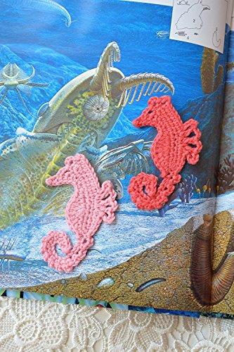 Häkeln Applikationen Seepferdchen Nähendes Handwerk Strand thema verschönerung liefert gehäkelte Ozean Nähzubehör Applikation Nautischer Strand hochzeits dekoration Party bevorzugungen Satz von 2 Stücke (Nautische Dekorationen Thema)
