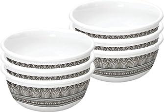 Servewell Antique Urmi Melamine Veg Bowl Set, 10.5cm, Set of 6, White