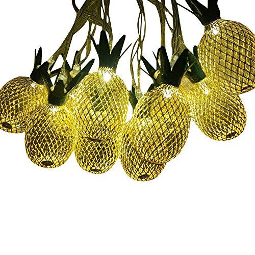 LCLute Upgraded 5 meter 20 LED Gold Ananas LED Solarlicht Christma Fee Party Lichter String für Rasen Patio Hof Gehweg