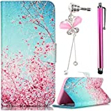 Funda Caso Apple iPhone 4 / 4S Cáscara Case Cover Sunroyal® PU Soft de Nuevo de Premium Protectora Atractivo Perfect Slim Protección Anti Rasguño Con Ranura Cubierta Shell + Dust plug / Rhinestone Diamantes flor Bling Enchufe del Polvo de Cristal + Metal Lápiz Táctil/Stylus Touch Pen?Flores Rojas Cielo Azul