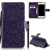 Leder Hülle für iPhone 7 Plus 5.5,iPhone 7 Plus Flip Case Magnet,BtDuck Blume Dünn Tasche Brieftasche Ledertasche Kartenfach Stand Silikon Schutzhülle für iPhone 7 Plus 5.5 Wallet beutel - Lila