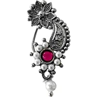 Riank Traditional Oxidised Maharashtrian Nath with Floral Design Pearl Bead Nose Ring without piercing for Women