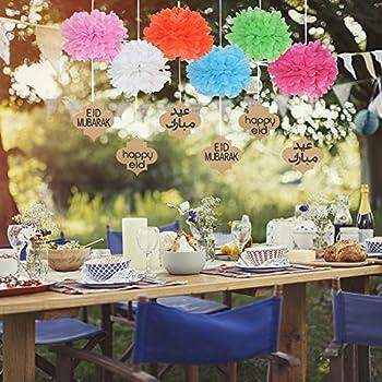Lembeauty 6pcs Seidenpapier Flower Ball Hängen Pom Mit Eid Mubarak Tags Für Party Einkaufszentrum Aktivitäten Fenster Decor 6
