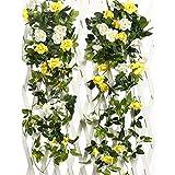 Justoyou, ghirlanda artificiale, decorazione da appendere, rampicante con rose finte, per matrimonio, confezione da 2 Yellow