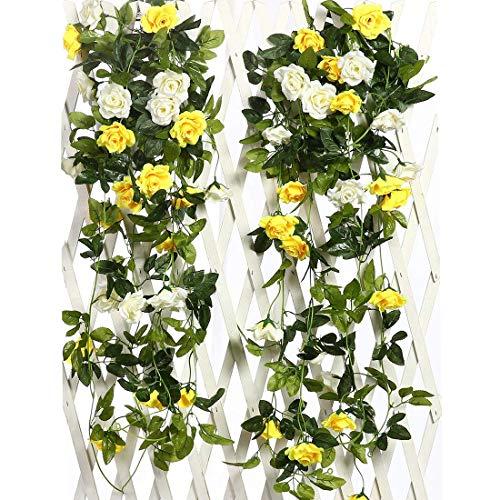 Justoyou künstliche Rosengirlande, Hängedeko, mit Blättern, für Hochzeiten, 2er Pack gelb