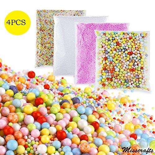 Lot de 4 mini boules de polystyrène pour Slime, coloré, petite Balles en mousse de remplissage Perles pour DIY loisirs créatifs Décoration de mariage, Blanc, Rose et Couleurs mélangées
