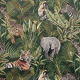 Samtstoff Dekostoff Italian Velvet Samt Safari Tiere Palmen grün bunt 1,45cm