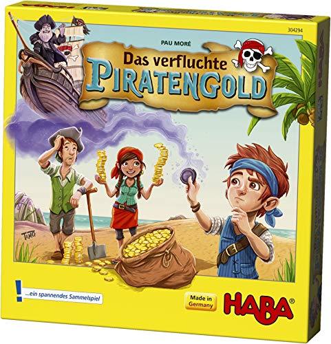 HABA 304294 - Das verfluchte Piratengold, spannendes Mitbringspiel mit Piratenschiff und 50 Spielmünzen, Sammelspiel für 2-4 Spieler von 5-99 Jahren (Ds Spiele Gesellschaftsspiele)