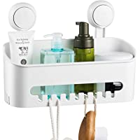 ilikable Vacuum Shower Caddy Suction Cup No-Drilling Removable Waterproof Bathroom Wall Shelf Shower Basket Storage…