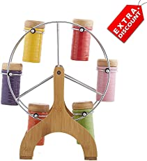 EZ Life Ferris Wheel Spice Server with 6 Bottles - Ceramic - Multicolor - Ceramic and Steel - Extra Discount Offer