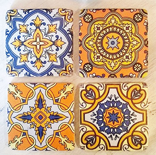 Set von 4Arabesque Print Vintage Tile Getränke Untersetzer Arabesque Tee