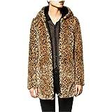 DOGZI Abrigo Mujer Invierno,Leopardo Suéter con Capucha Abrigo de Cuello de Piel Piel sintética Cremallera Bolsillo Desgastar