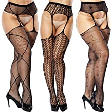 Vellede Collant Resille Ouvert Pantyhose Lingerie Sexy Collants Noir 3 Pack b38ddbfe4f4