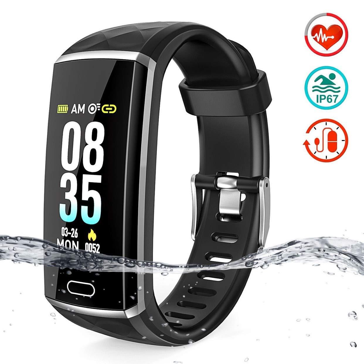 Pulsera de Actividad, LOZAYI Pulsera Actividad Inteligente, Reloj Inteligente Pantalla Color 0.96' Pulsómetro Presión… 1