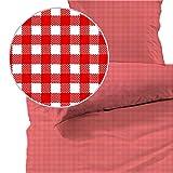 Seersucker Bettwäsche karo, Landhaus Rot, 100% Baumwolle, Bügelfrei, 135 x 200cm + 80 x 80cm, mit YKK-Qualitätsreißverschluss, kariert