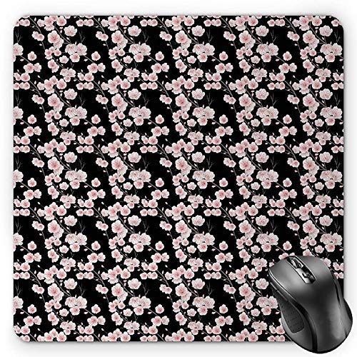 Cherry Blossom Mouse Pad, Fresh Nature Theme Branches with Blooms and Buds Rustic Japanese Gaming Mousepad Office Mouse Mat Dark Brown Blush White -