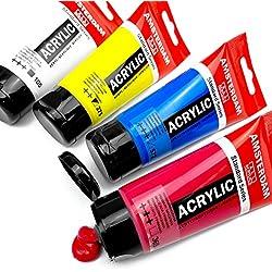 Tubos de pintura acrílica Amsterdam Royal Talens, Standard Series, set con los colores principales, 4 unidades de 75 ml