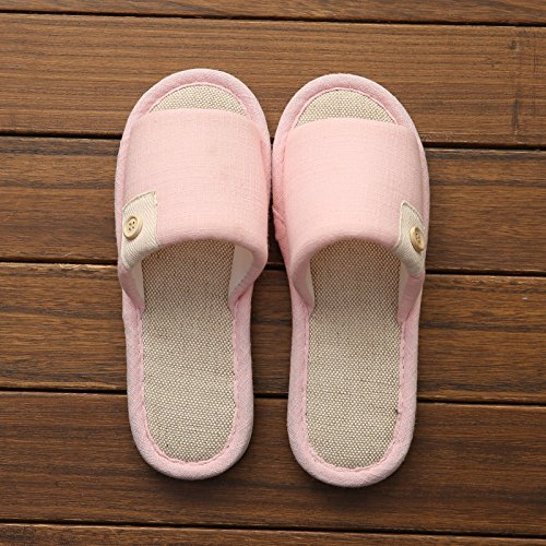 DogHaccd pantofole,Home biancheria di cotone pantofole estate piscina home antiscivolo fondo di spessore pavimento femmina pantofole carino coppia cool pantofole maschio Rosa