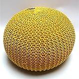Millhouse, Strick-Fußhocker, Sitzsack, gefüllte Baumwolle, für Wohnzimmer oder Schlafzimmer, Textil, gelb, 50 cm
