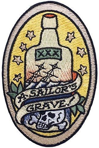 F-Bomb Morale Gear A Sailors Grave Bestickt Klettverschluss Moral Patch basiert auf der nautischen Tattoo Marine Flight Suit