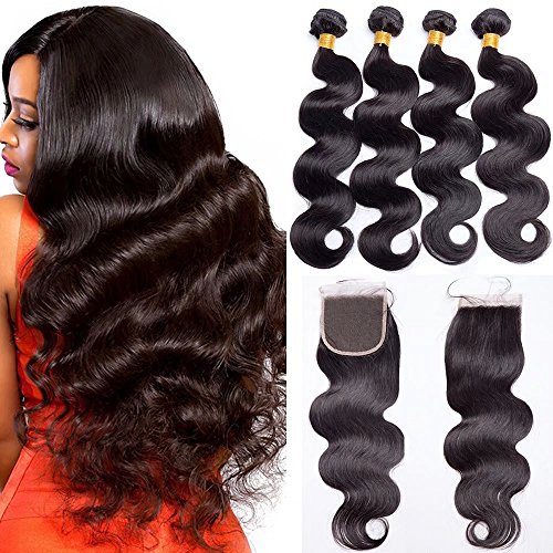 Maxine Brazilian Hair With Closure 9A Grade 3 Bundles Body Wave Virgin Human Hair Bundles With 4x4 Lace Closure 100% Unprocessed Hair Extensions Natural Black Color (20 22 24 + 18, Free Part)