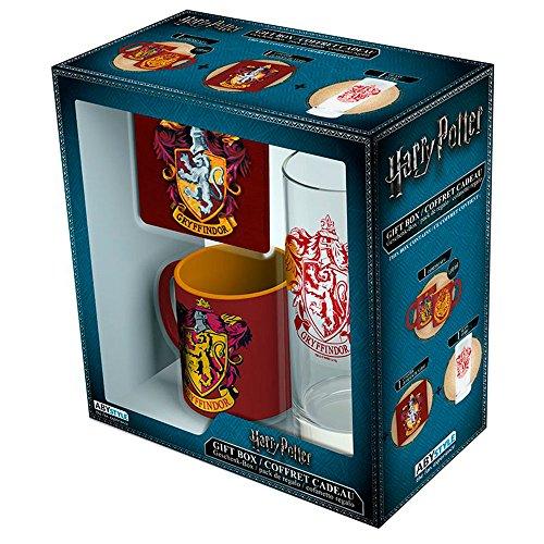 Set regalo Harry Potter, escudo Gryffindor. Taza, vaso y posavasos