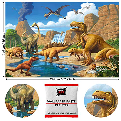 GREAT ART Fototapete Dinosaurier 210 x 140 cm - Kindertapete Kinderzimmer 5 Teile Tapete inklusive Kleister