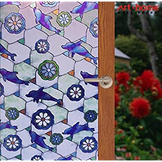 Arthome Stained Glass Film Frosted Privacy Window Films Self Adhesive Static Cling Window Sticker Removable for Bathroom Living Room Bedroom Kitchen Office Home (AHG003, 90 x 254CM)